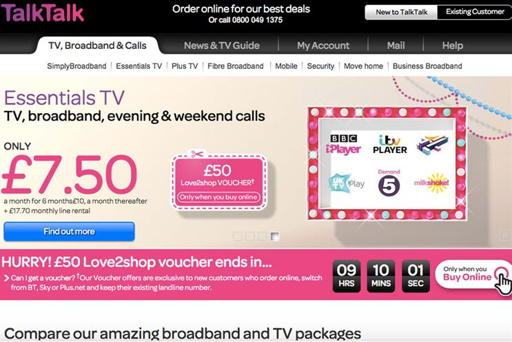 TalkTalk: its website will use content from AOL, including The Huffington Post