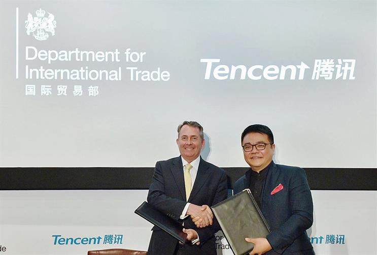 Fox (left) with Tencent's Lau