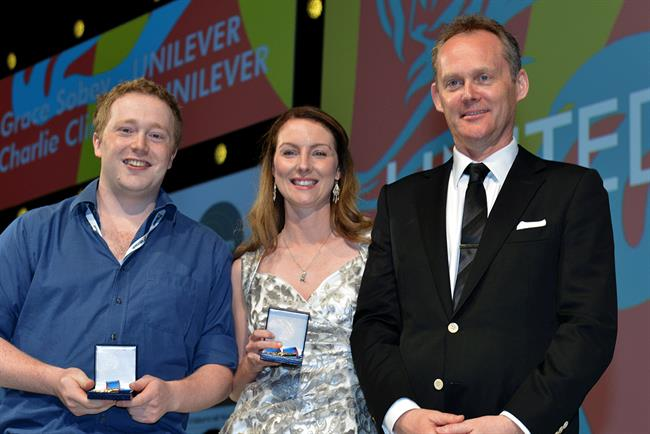 Charlie Clinton (left) and Grace Sobey (centre): accepting their awards at Cannes Lions