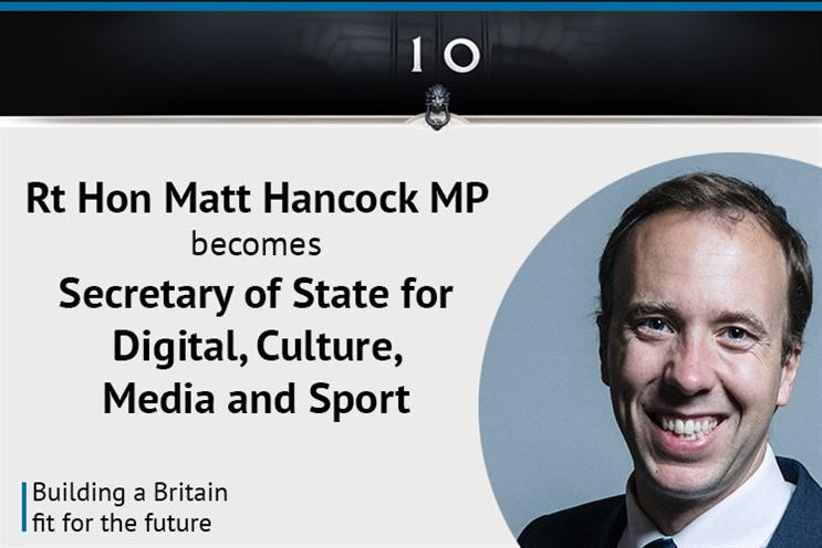 Matt Hancock succeeds Karen Bradley as culture secretary