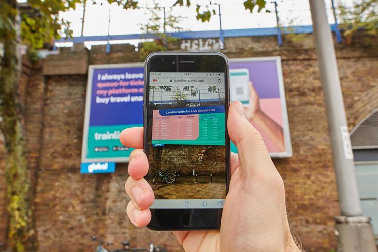 Trainline: outdoor ads transform on smartphone via QR code