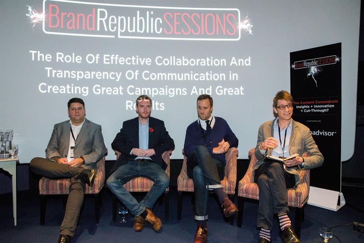 Panel: Integral Ad Science's Paul Nasse, MediaCom's Charlie Clack, TripAdvisor's Ben Peterson and Brand Republic's Jonathan Shannon (chair)