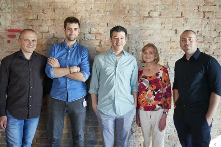 UberPitch: founders Jakub Urbański, Florent Malbranche, Travis Kalanick, Mary Matthews and Vedran Vego
