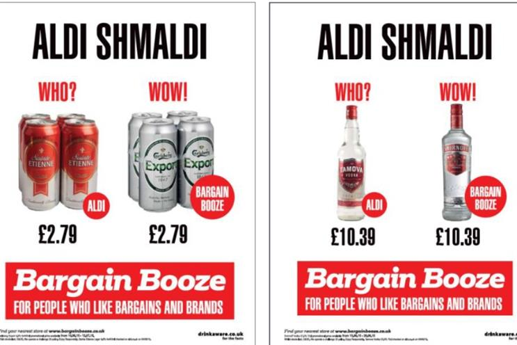 Bargain Booze: print creative pokes fun at Aldi's campaign