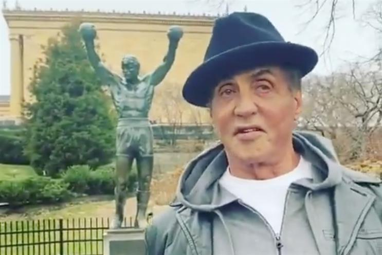 Stallone: will appear alongside Rock in Facebook spot