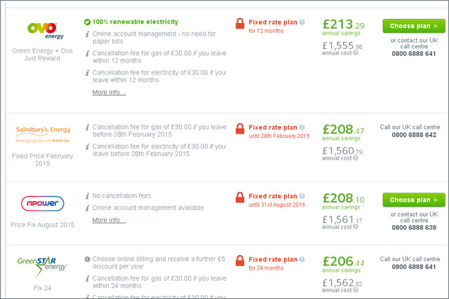 USwitch: site shows annual savings offered for family household through switching to Sainsbury's Energy
