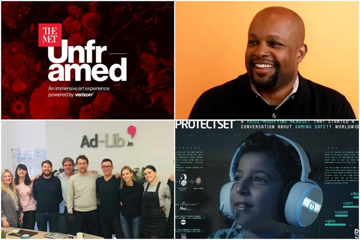 Winners (clockwise from top-left): 'The Met Unframed'; Kerel Cooper; 'ProtectSet' and Ad-Lib.io
