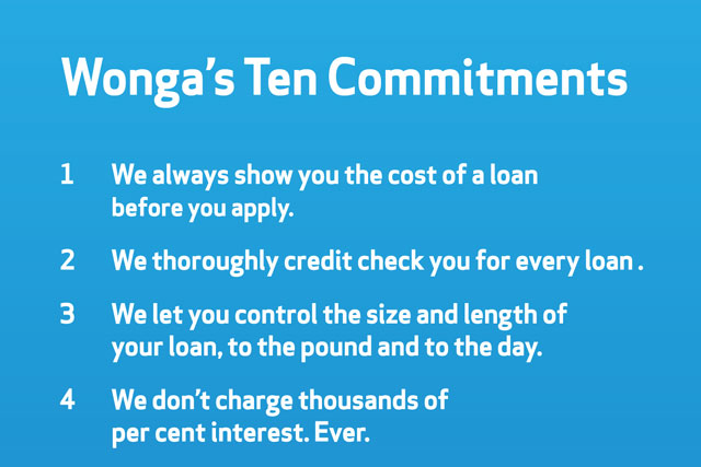 Wonga:  payday loan firm unveils its Ten Commitments ad