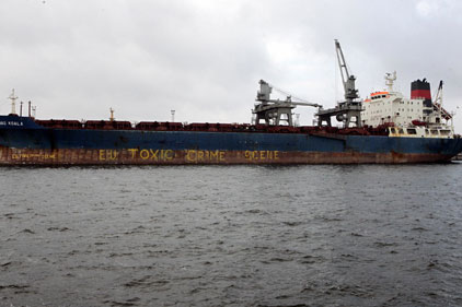 Polution crisis: chartered ship dumping waste