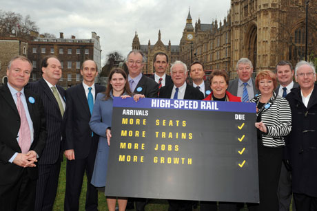 Lobbyists: Supporters of the HS2 rail link at Westminster