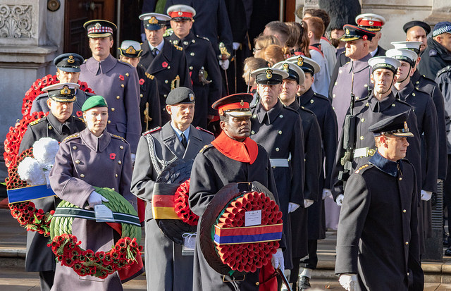 Veterans at last month's Armistice Day centenary in London
