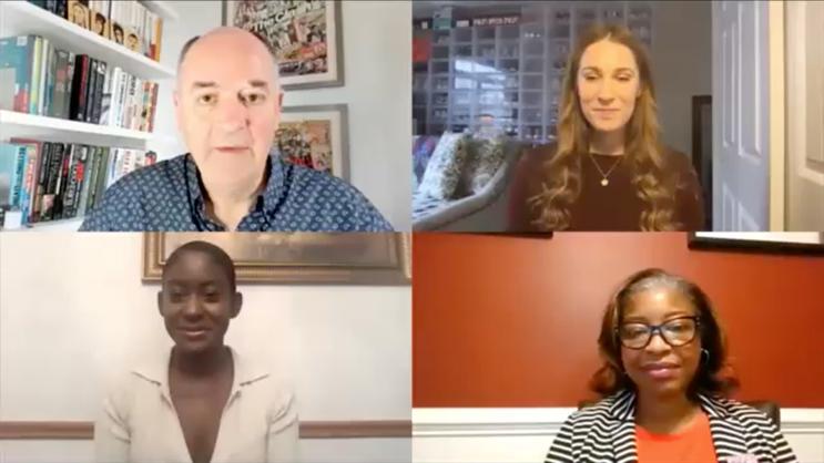 Clockwise from top-left: PRWeek's Steve Barrett, Foot Locker's Sarah Houseknecht, the FDA's Lauren-Jei McCarthy and Facebook's Monique McKenzie.
