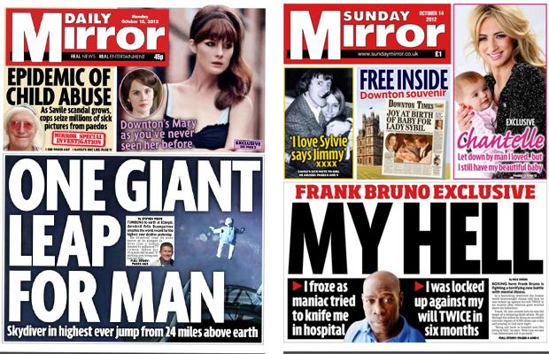 Trinity Mirror titles: Daily Mirror and Sunday Mirror