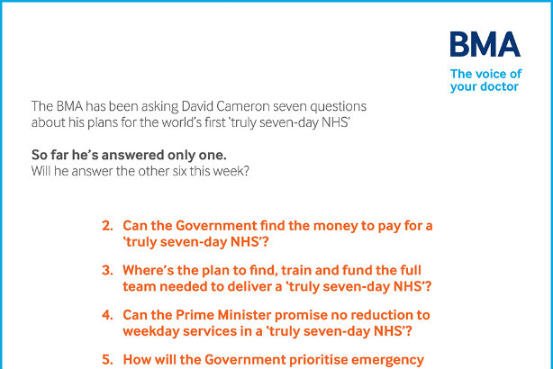 British Medical Association presses PM with #Showusthe7dayplan campaign