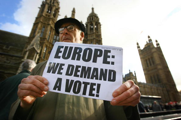 EU protesters outside Parliament (pic credit: Getty Images)