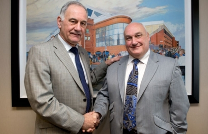 Rangers hire: James Traynor (right) with Rangers owner Charles Green