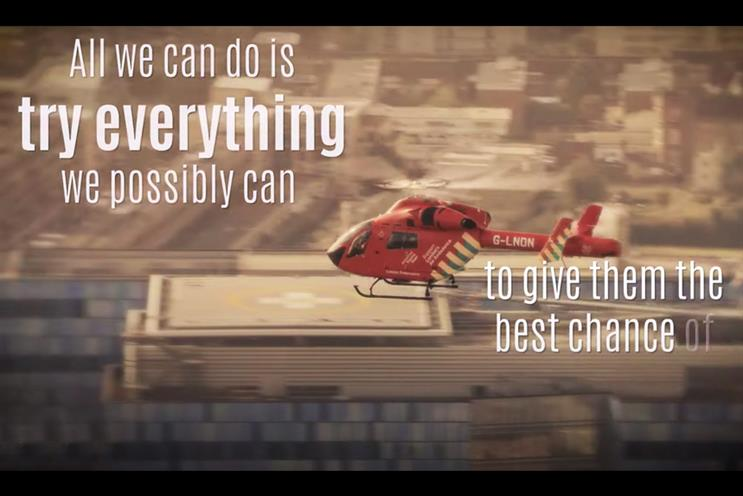 A still from the campaign film by London's Air Ambulance Charity