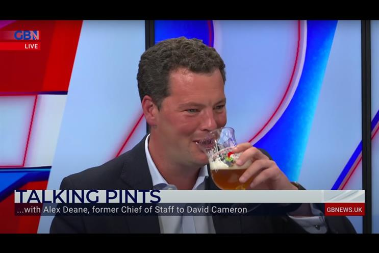 FTI's Alex Deane discusses climate change and the future of the BBC on 'Talking Pints' with Nigel Farage (Credit: GB News)
