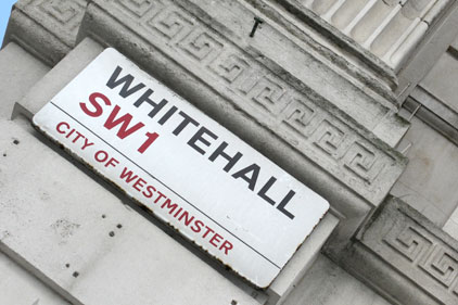 Whitehall: watching the slogans