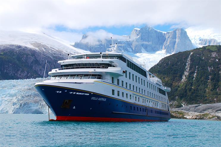 The Stella Australis drops anchor near a glacier in Patagonia