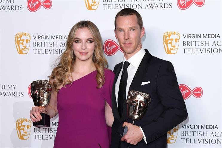 Best Leading Actress Jodie Comer and Best Leading Actor Benedict Cumberbatch at this year's awards (Photo by Karwai Tang/WireImage)