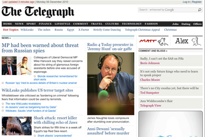 Preparing to implement a pay wall: The Telegraph
