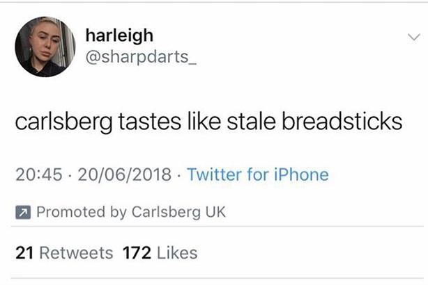 Carlsberg: tweets baffled some Twitter users