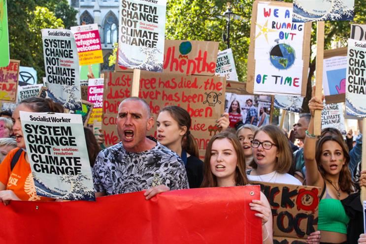 Ready made Socialist Worker placards were in abundance at last week's climate strike. Photo: A Hickman.