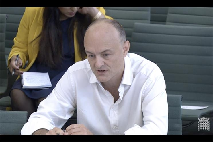 Dominic Cummings giving evidence about the Government's response to the pandemic