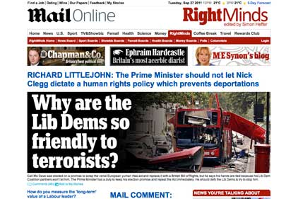RightMinds: for people with 'the same view of the world as the Daily Mail'