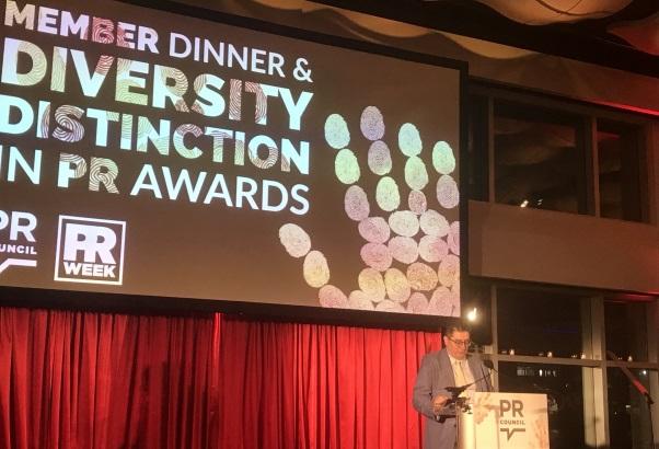 PRWeek managing editor Gideon Fidelzeid speaks at the Diversity Distinction in PR Awards.