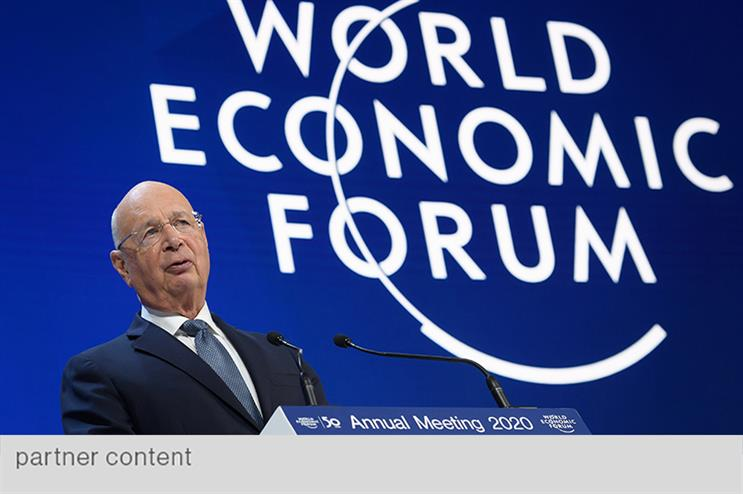 WEF founder and executive chairman Klaus Schwab kicks off the 50th anniversary gathering in Davos by launching a new Davos Manifesto (photo by Fabrice Coffrini/AFP via Getty Images)