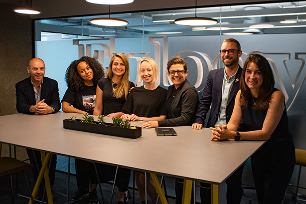 In2Science founder Rebecca McKelvey (fourth from left) with the Eulogy team.