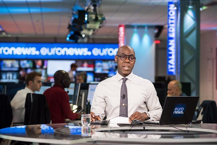 Anchor Tokunbo Salako at the Euronews headquarters studio