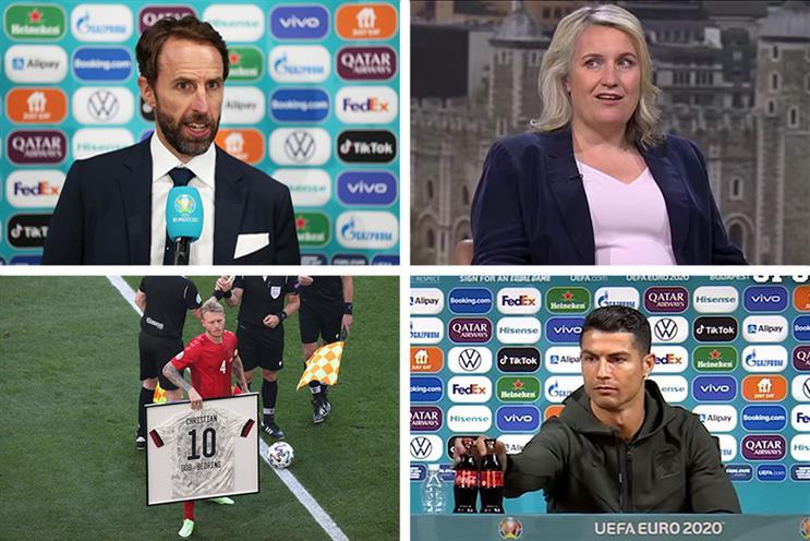 From top left, Gareth Southgate, Emma Hayes, Cristiano Ronaldo and Danish captain Simon Kjær.