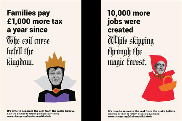 Ban lies in political ads, fairy tale-inspired campaign demands