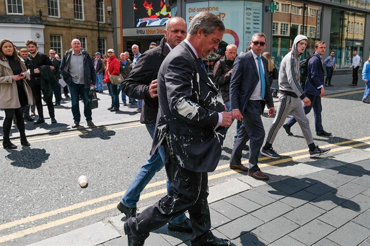 Brexit Party leader Nigel Farage had a milkshake thrown at him at Newcastle (©Ian Forsyth/Getty Images)