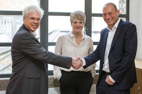 Deal: (l-r) Peter Finn, Finn Partners Europe managing partner Chantal Bowman-Boyles and Mike King