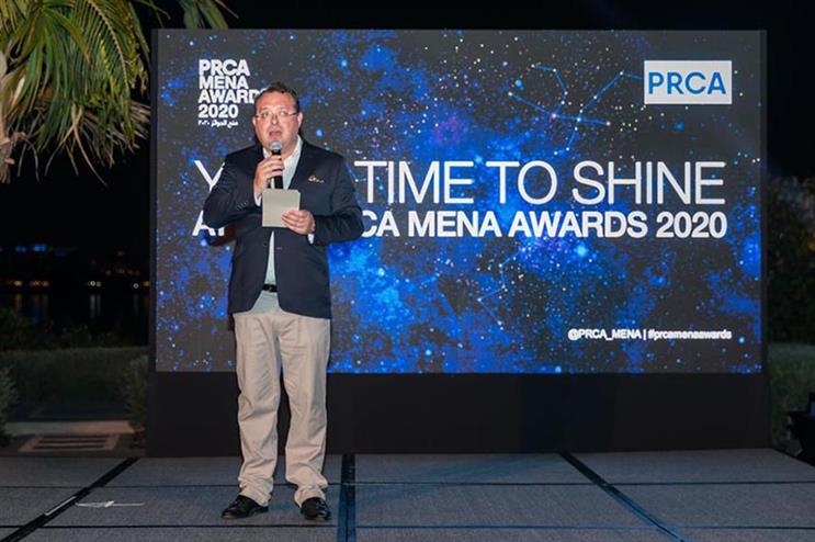 Francis Ingham, PRCA director general, at the MENA Awards
