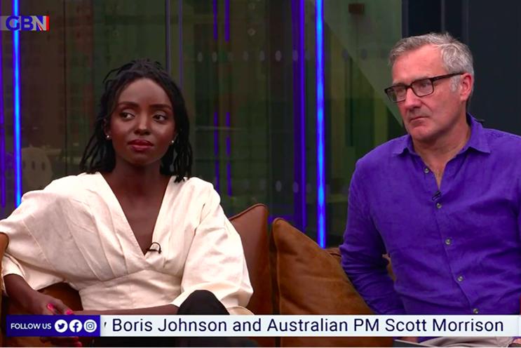 GB News presenters Mercy Murkowi and Colin Brazier.