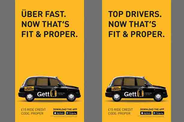 Black cab app Gett's new campaign takes a swipe at rival Uber