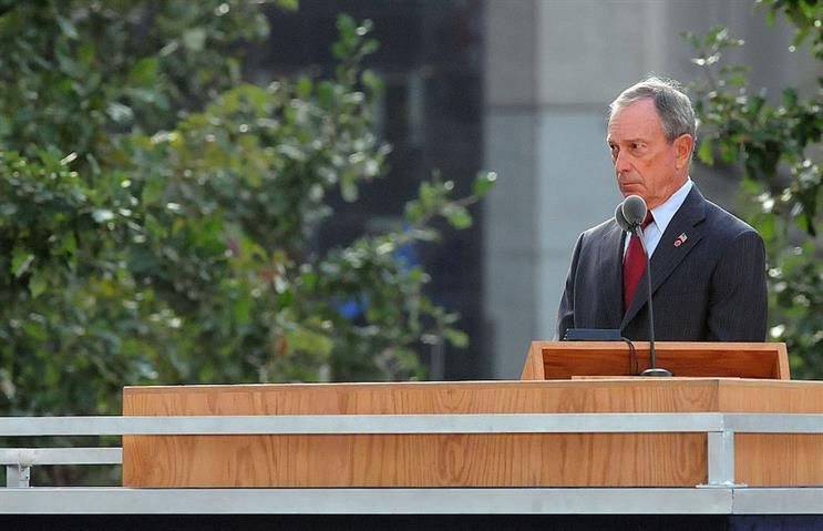 Former New York City mayor Michael Bloomberg delivers a speech during 9/11's 10th anniversary ceremony at Ground Zero. (Photo credit: Getty Images)