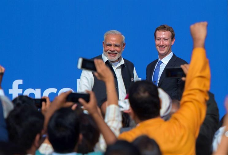 India's PM Narendra Modi (left) with Facebook CEO Mark Zuckerberg
