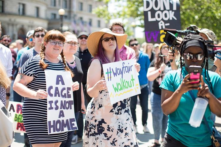 Wayfair employees walkout after the company sold furniture to a detention facility for migrants. (Getty Images)