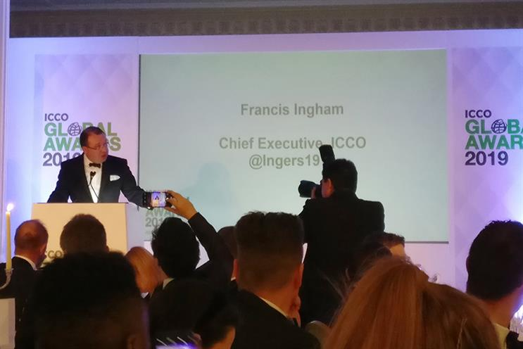 ICCO CEO Francis Ingham opens its Global Awards ceremony at The Savoy