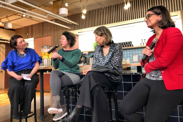From left to right – Soon Mee Kim , Kendra Clarke, Cheryl Miller Houser, and Angela Chitkara talk at a Porter Novelli panel discussion about the need for balanced representation.