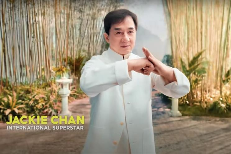 Jackie Chan does his own stunts for Shopee