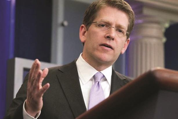 Outgoing press secretary Jay Carney