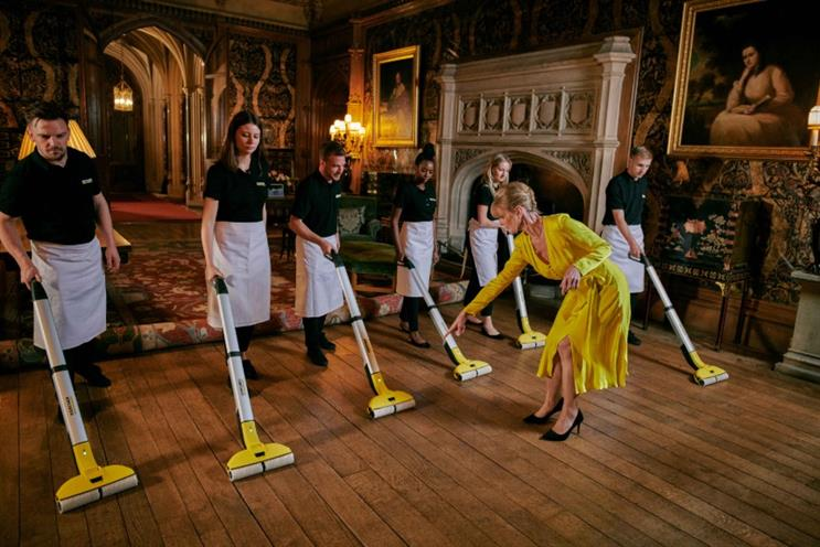 A Downton Abbey-esque mopping demonstration.