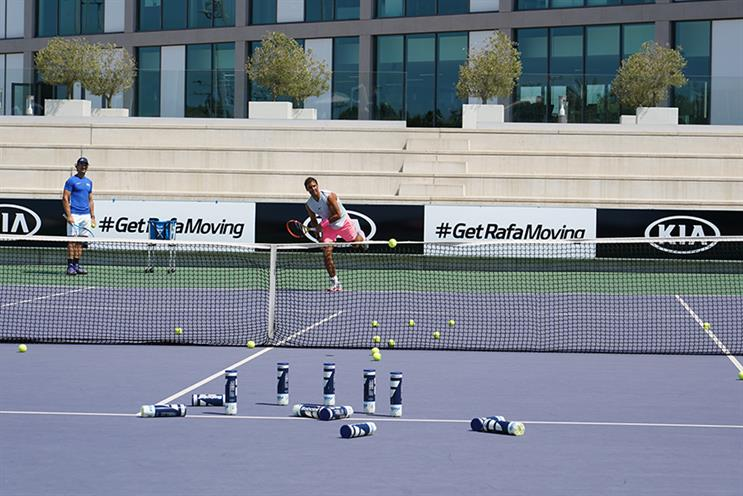 Rafa sends down a serve as part of the #GetRafaMoving campaign